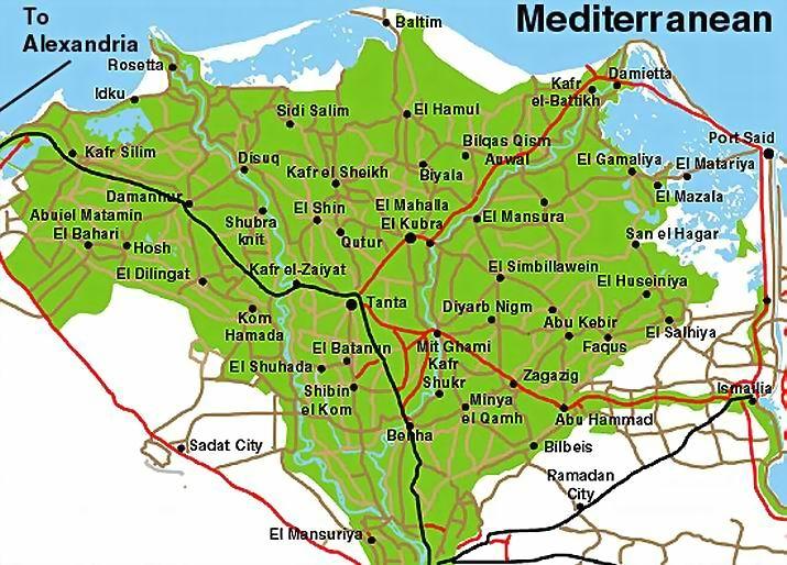 ナイル・デルタ地域地図